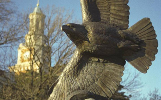UNT statue of an eagle